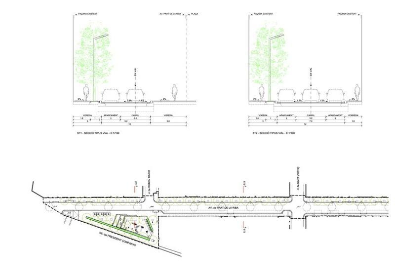 Reurbanización de la Avenida Prat de la Riba y Plaza de Enric Morera